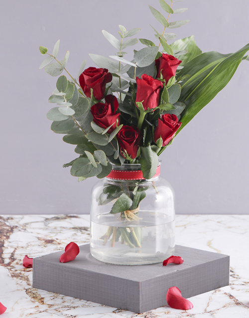 anniversary: Red Rose and Greenery Arrangement!