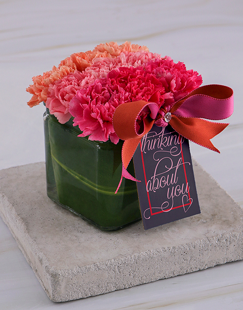 friendship: About You Carnations in Square Vase!