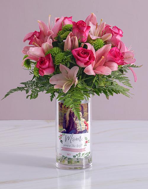 flowers: Personalised Best Mom Roses Photo Vase!