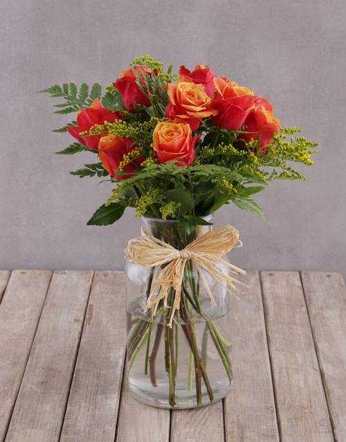 flowers: Charming Cherry Brandy Rose Arrangement!