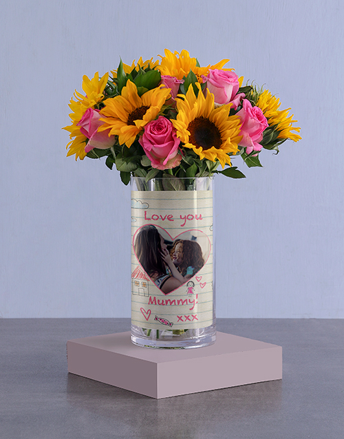 colour: Personalised Love You Sunflowers Photo Vase!