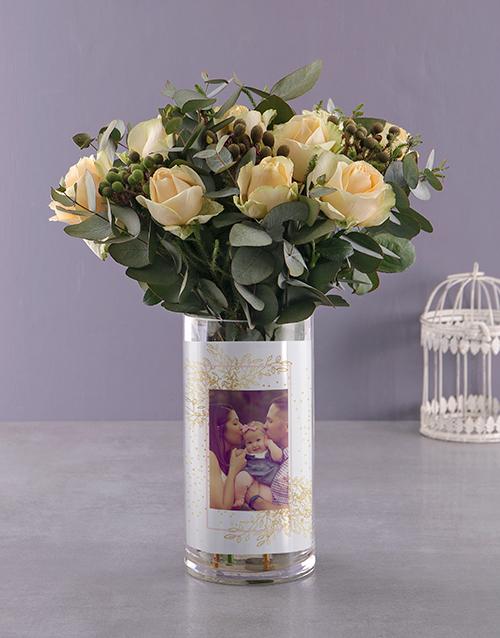 colour: Personalised Sweet Cream Roses Photo Vase!