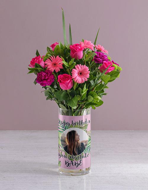 colour: Personalised Happy Birthday Florals Photo Vase!