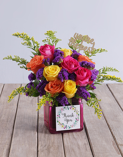 colour: Thank You Rose Blooms in a Vase!