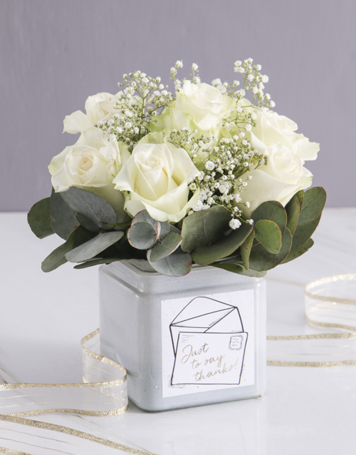 colour: White Thank You Rose Blooms in a Vase!