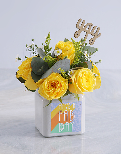 friendship: Blissful Yellow Roses in a Vase!