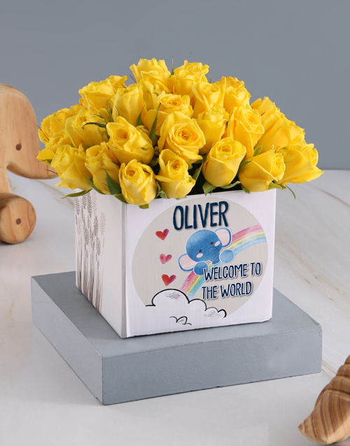 baby: Welcome Sunshine Roses In Occasions Box Gift!