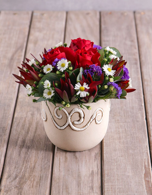 birthday: Red Rose Assortment in Ceramic Vase!