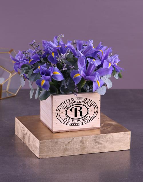baby: Blue Irises In Wooden Box!