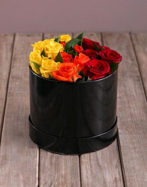 birthday: Sunrise Roses in Hat Box!