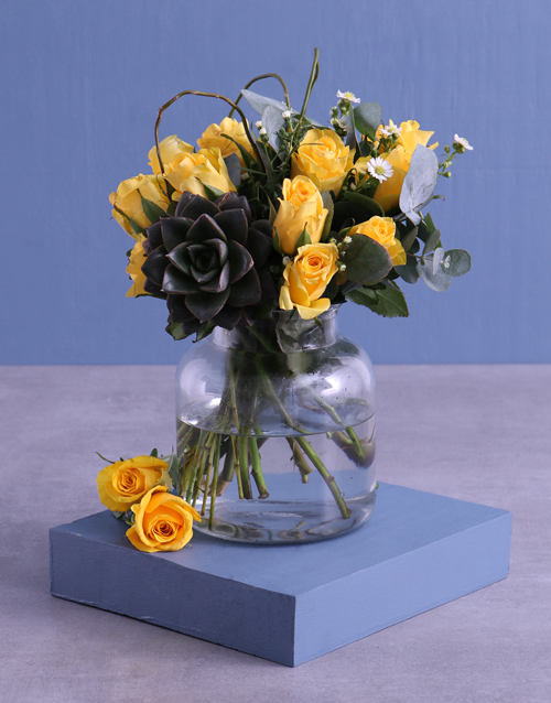 thank-you: Yellow Roses In Vase !