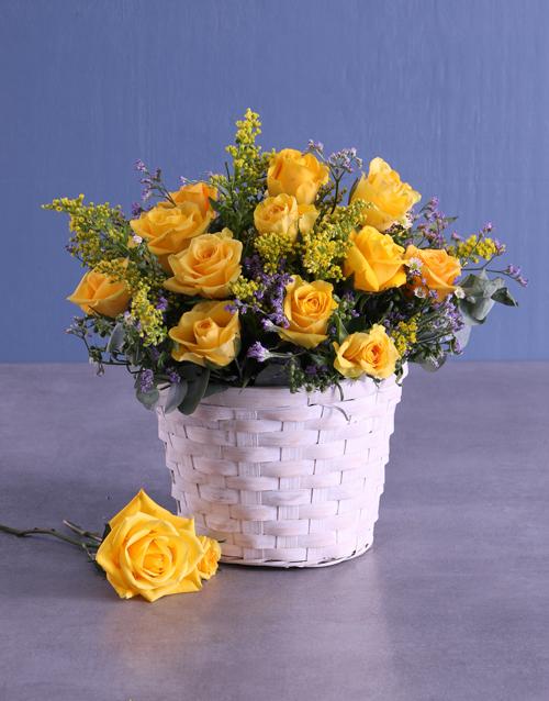 birthday: Basket Of Radiant Yellow Roses!