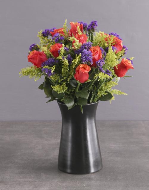 roses: Cherry Brandy Roses In Ceramic Pot!