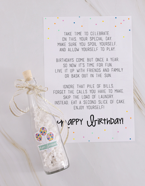 colour: Happy Birthday Message In A Bottle!