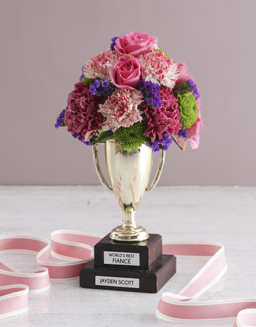 anniversary: Personalised Best Fiance Trophy Arrangement!