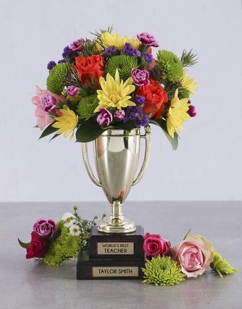 colour: Personalised Best Teacher Trophy Arrangement!