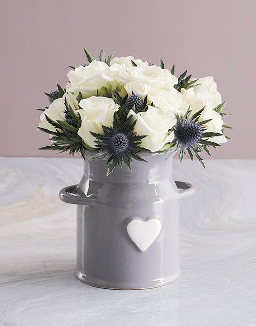 birthday: White Roses In Ceramic Milk Can!