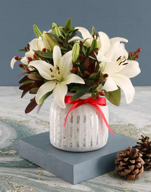 christmas: White Asiflorum Lilies in Dainty White Vase!