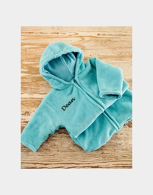 apparel: Personalised Blue Fleece Baby Sleeping Jacket!