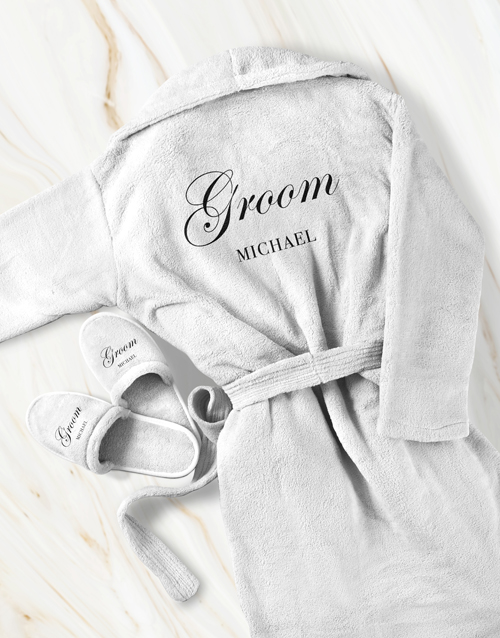 bath-and-body: Personalised Cursive Groom Gown and Slipper Set!