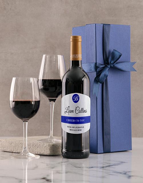 personalised: Personalised Cheers Blue Giftbox!