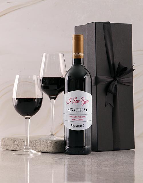 valentines-day: Personalised Black Backsberg Love Giftbox!