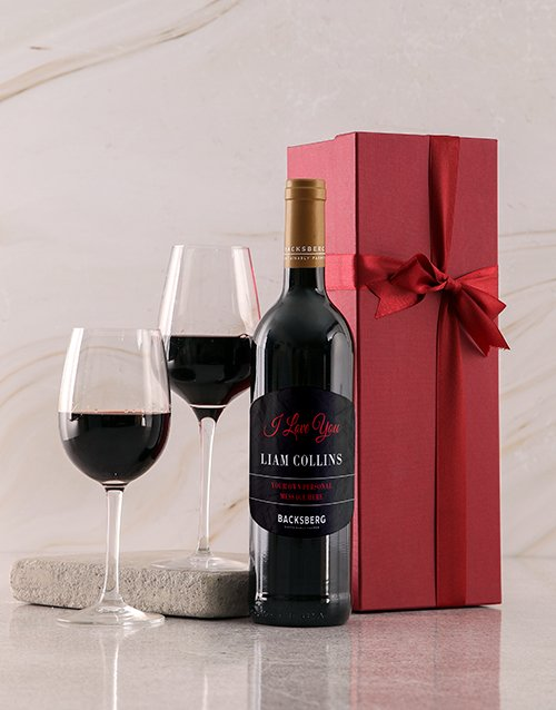 valentines-day: Personalised Red Backsberg Love Giftbox!