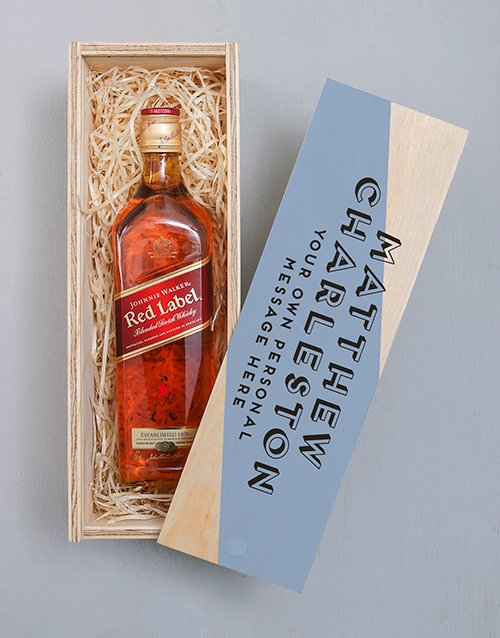 fine-alcohol: Personalised Johnnie Walker Red Wooden Crate!