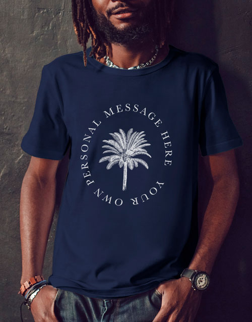clothing: Personalised Black Palm Tree Message T Shirt!