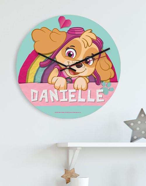 christmas: Personalised Pink Paw Patrol Kids Clock!