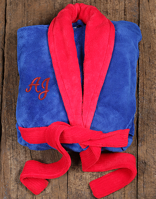 fathers-day: Personalised Red and Blue Fleece Gown!