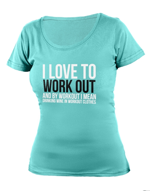 clothing: Personalised Aqua Love To Work Out Ladies T Shirt!