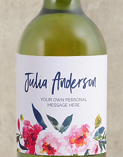 anniversary: Personalised Watercolour Floral White Wine!