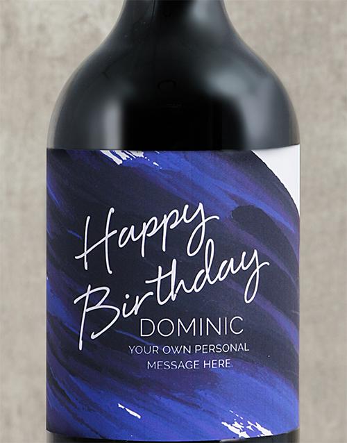 personalised: Personalised Blue Brushstroke Birthday Wine!