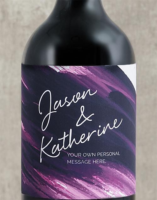 personalised: Personalised Purple Brushstroke Couples Wine!