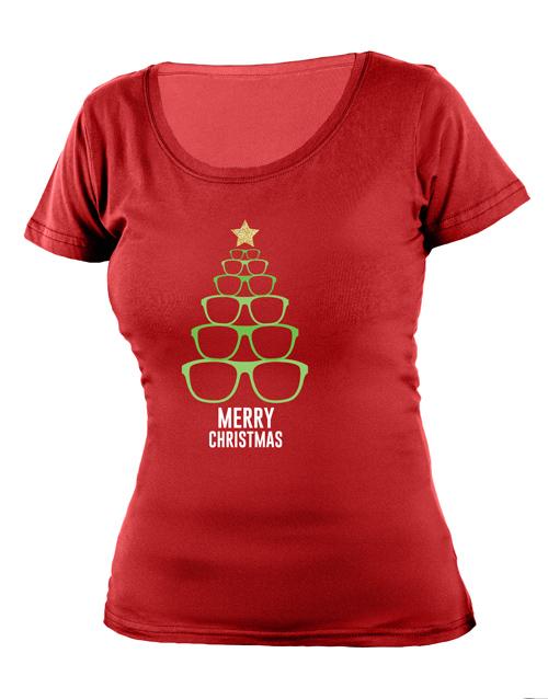 clothing: Personalised Christmas Sunglasses Ladies T Shirt!