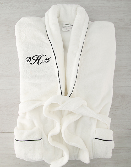 fathers-day: Personalised Cursive Monogram Fleece Gown!