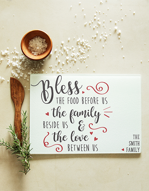 personalised: Personalised Bless The Food Glass Chopping Board!