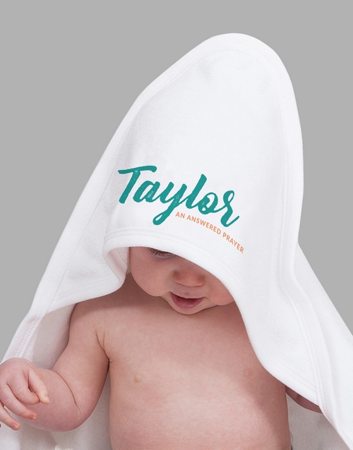 baby: Personalised Name And Message Hooded Towel!