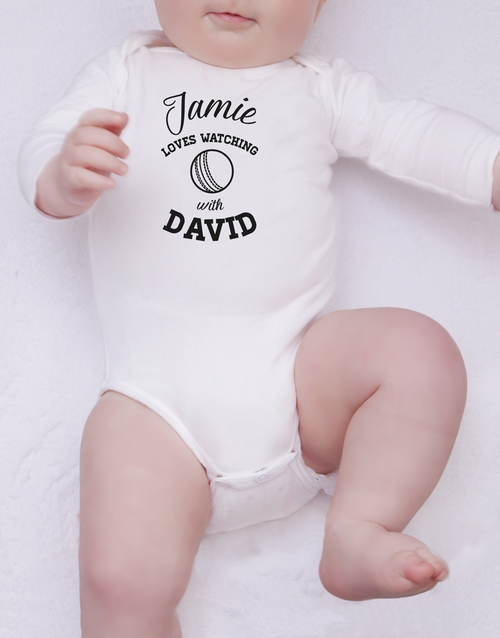 baby: Personalised Cricket With Daddy Onesie!