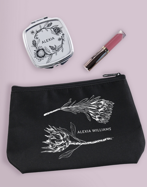 christmas: Personalised Sketched Protea Cosmetic Bag!