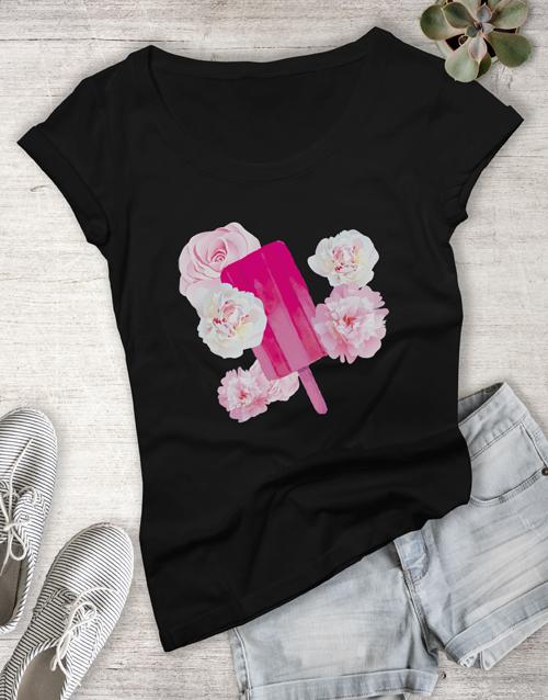 clothing: Floral Ice Stick Ladies Tshirt!