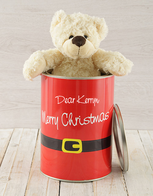 christmas: Personalised Christmas Suit Teddy Tin!