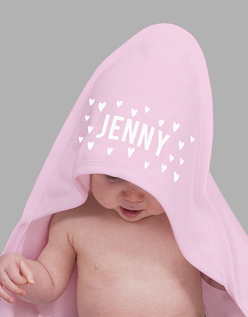 baby: Personalised Pink Hearts Hooded Baby Towel!