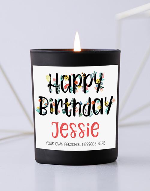 personalised: Personalised Floral Birthday Black Candle!