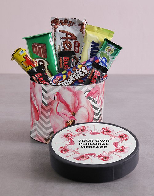 personalised: Personalised Flamingo Hat Box with Treats!