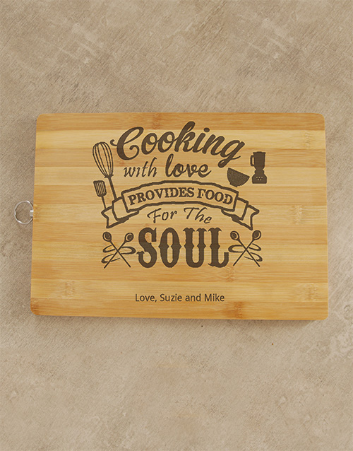 valentines-day: Personalised Cooking With Love Chopping Board!