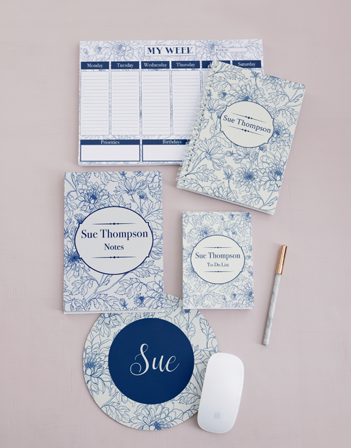 christmas: Personalised Sketch Floral Take Note Set!