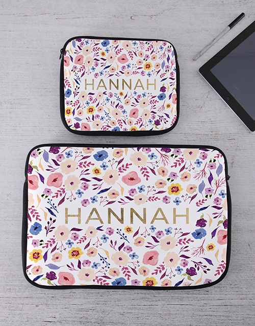bosses-day: Personalised Floral Tablet or Laptop Sleeve!