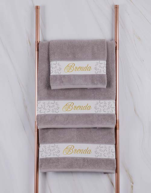 christmas: Personalised Leaf Foilage Stone Towel Set!